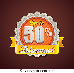 Vector up to 50% discount badge