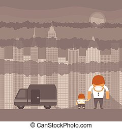 Vector urban ecology concept or background with cityscape...