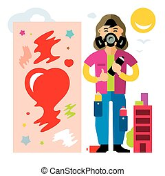 Vector Urban graffiti artist. Flat style colorful Cartoon illustration.