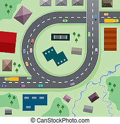 cars on the road - vector urban illustration of cars on the ...