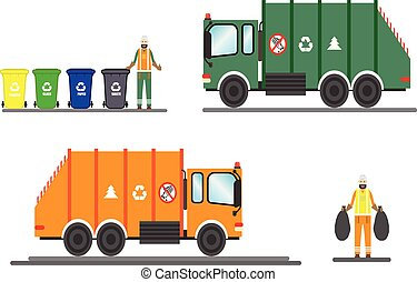 Vector urban sanitary vehicle garbage front loader truck and scavenger. Garbage Man in uniform gathering garbage and plastic waste for recycling. Service waste recycling