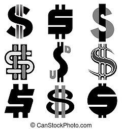 Vector US Dollar Icons Set