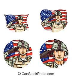Vector us flag salute soldier pop art avatar icon