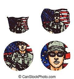 Vector us flag, soldier pop art avatar icons