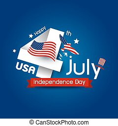 Vector USA 4 july happy independence day design
