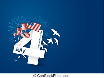 Vector USA 4 july happy independence day design on blue...