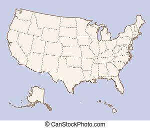 USA contour map