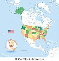 Vector USA High Detail classic Map Set
