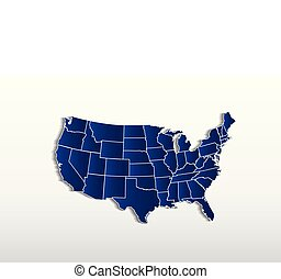Vector USA map detailed states in blue logo icon image