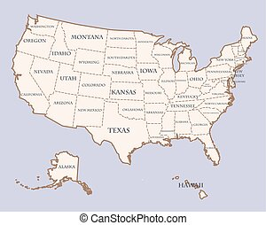 usa map with states names