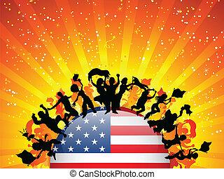 USA Sport Fan Crowd with Flag