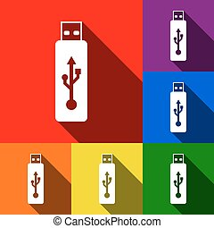 Vector USB flash drive sign. Vector. Set of icons with flat shadows at red, orange, yellow, green, blue and violet background.