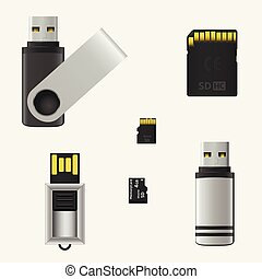 Vector USB flash drives and memory cards