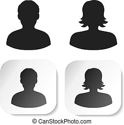 Vector user black symbols. Simple man and woman silhouette....
