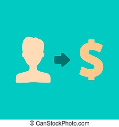 Vector user earnings icon with currency finance money