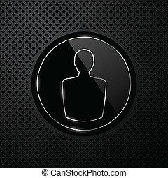 vector, usuario, icono, en, negro, tecnología, plano de...