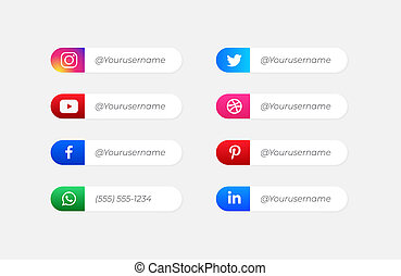 vector, usuario, iconos, nombre, medios, social