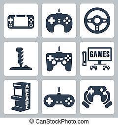 vector, vídeo, conjunto, juegos, iconos