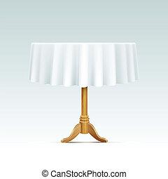 vector, vacío, madera, mesa redonda, con, mantel