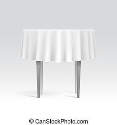 vector, vacío, mesa redonda, con, mantel
