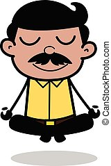 vector, vader, pose, -, illustratie, indiër, meditatie, spotprent, man