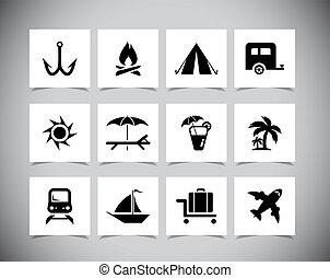 vector, vakantie, iconen