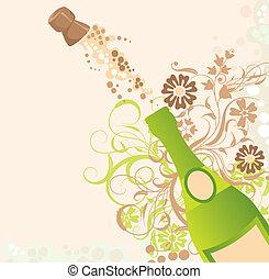 vector, vakantie, vonken, champagne