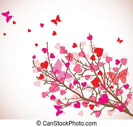 (vector), valentine, albero, fondo., cuori, giorno