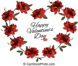 vector., valentine, bouquet, roses., fond, jour, rouges