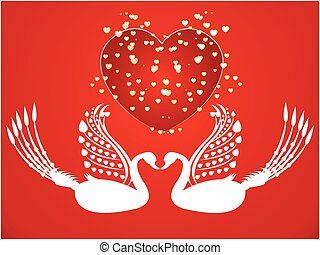 Vector Valentine card with cute swan   illustration