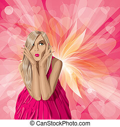 Vector Valentine Card with Girl