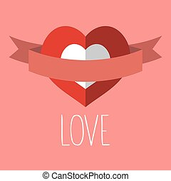 Vector valentine card with heart, ribbon, text Love.
