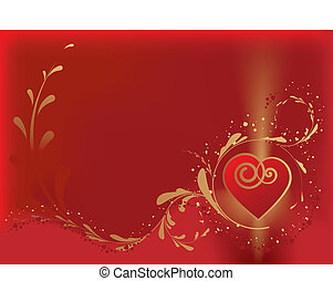 Vector Valentine card with hearts