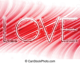 Vector - Valentine Day Love Word Abstract Colorful Waves on White Background