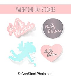 Vector Valentine Day realistic stickers on white background.