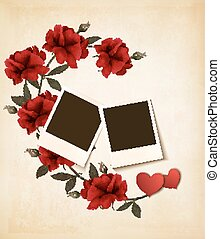 vector., valentine, fotografias, roses., fundo, dia
