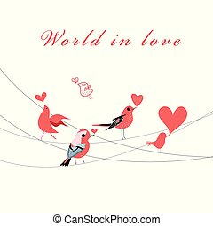 Vector Valentine greeting card with birds in love