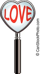 vector valentine illustration of heart shaped magnifying glass
