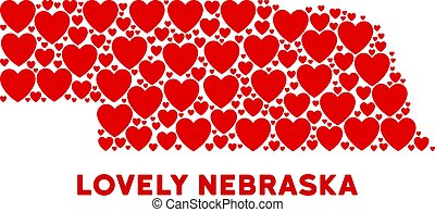Love Nebraska State map mosaic of red hearts. We like Nebraska State map template. Abstract vector geographic scheme is formed of red romantic icons.