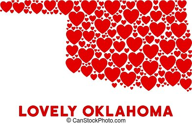 Vector Valentine Oklahoma State Map Mosaic of Hearts