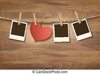 vector., valentine, photos., twee, achtergrond, hartjes, dag