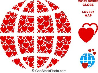 Vector Valentine Planet Globe Composition of Hearts