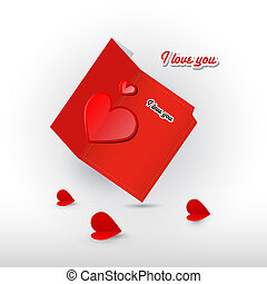 Vector Valentine Red Greeting Card Isolated on White Background