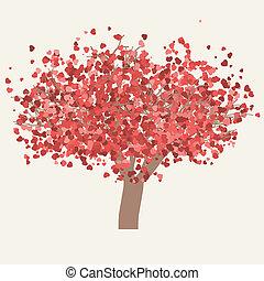 Vector valentine tree. EPS 8