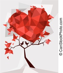 Vector - Valentine tree, love, leaf
