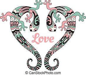 Vector Valentines card with love lizards.