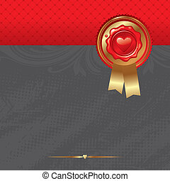 Vector Valentines card with sealing wax stamp and golden trim & ribbons