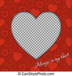 Vector Valentines day background from red hearts and place for your photo.
