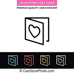 Vector Valentine's day card icon. Greeting card concept. Thin line icon