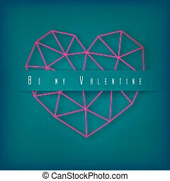 Vector Valentine's day card with geometric pink heart made of triangles on green background.